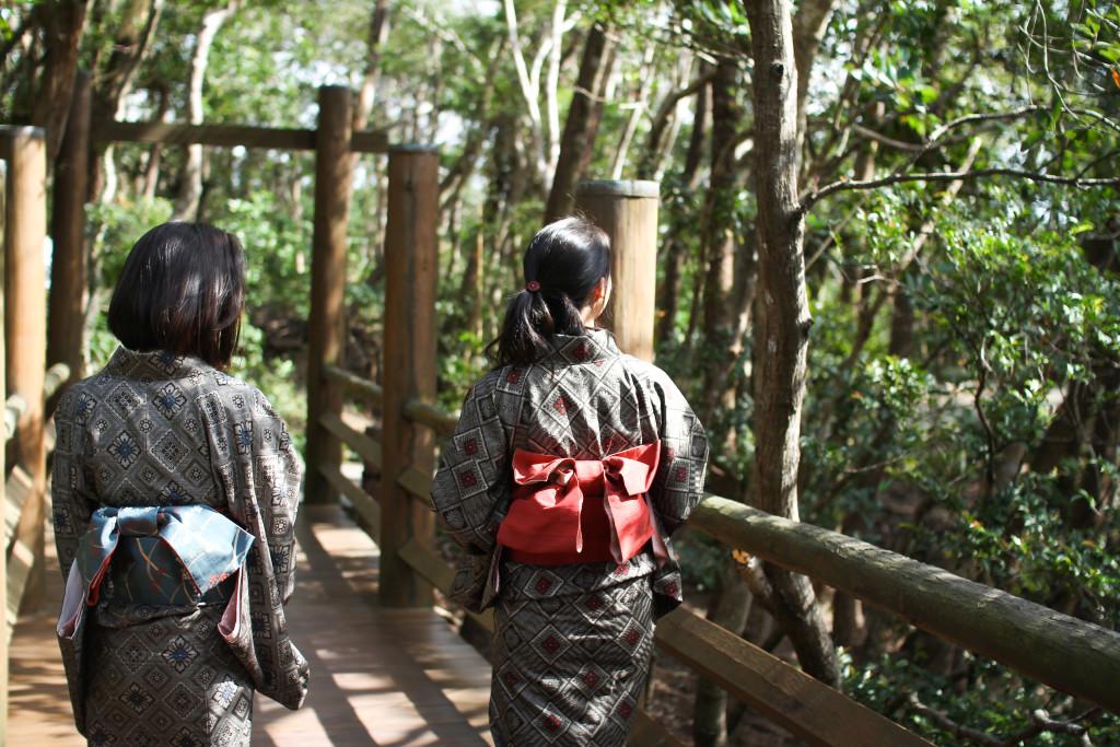 大島紬を着る二人の女性
