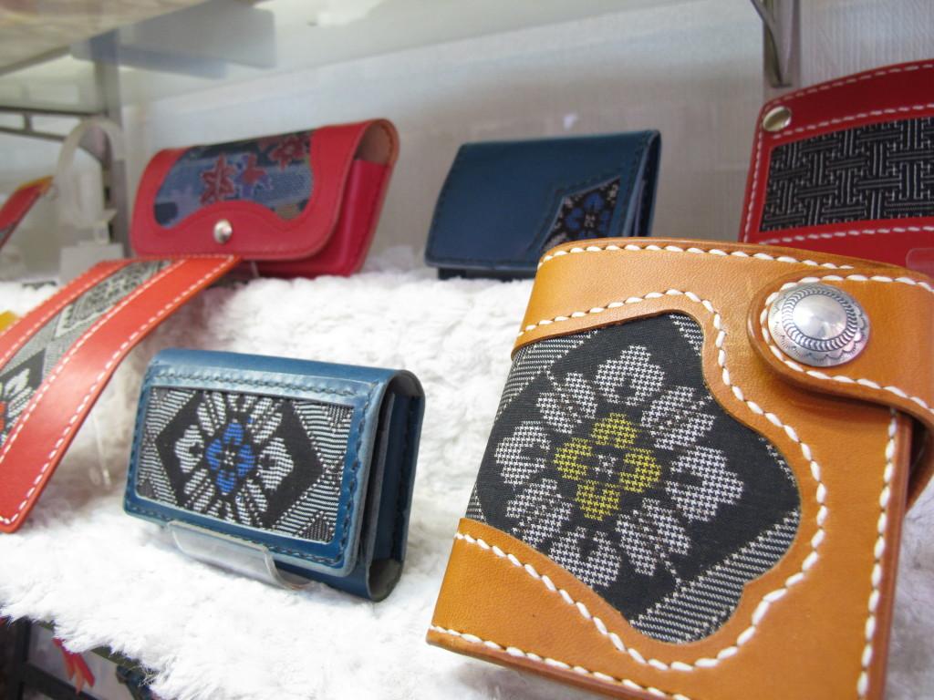 紬レザーかすり 財布やキーケース
