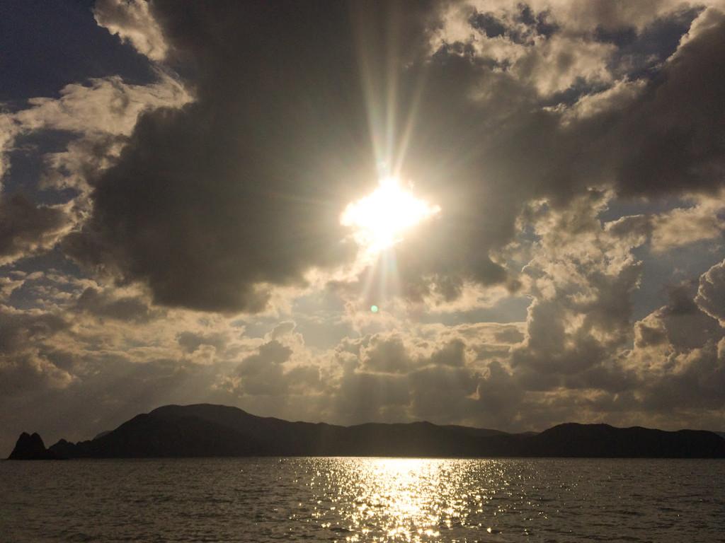 ヤドリ浜の夕焼け