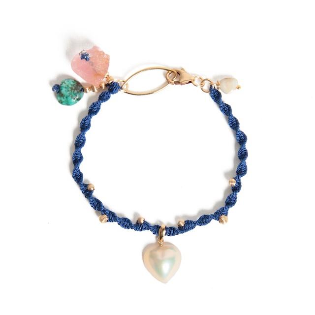 ハート型の真珠マベパールを使用したブレスレット
