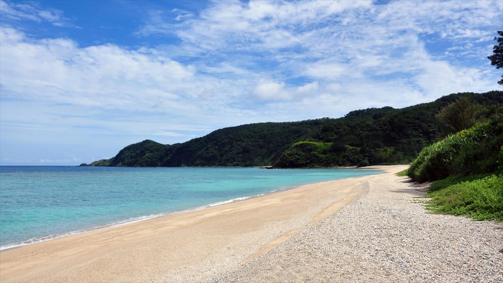 白い砂浜が美しい大和村の国定公園国直海岸