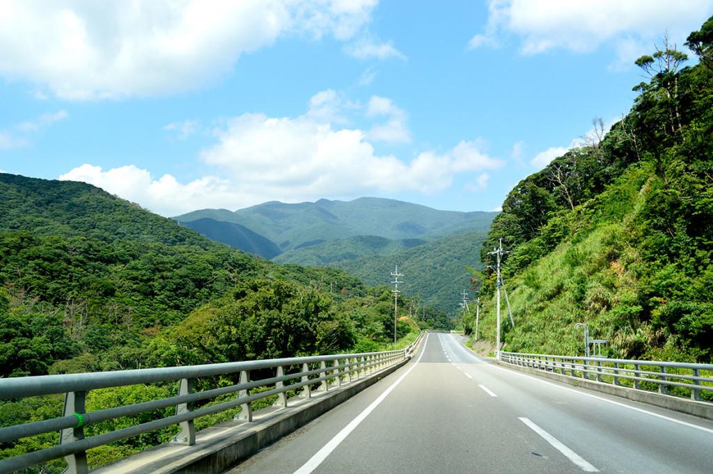 山に囲まれた宇検村の道路