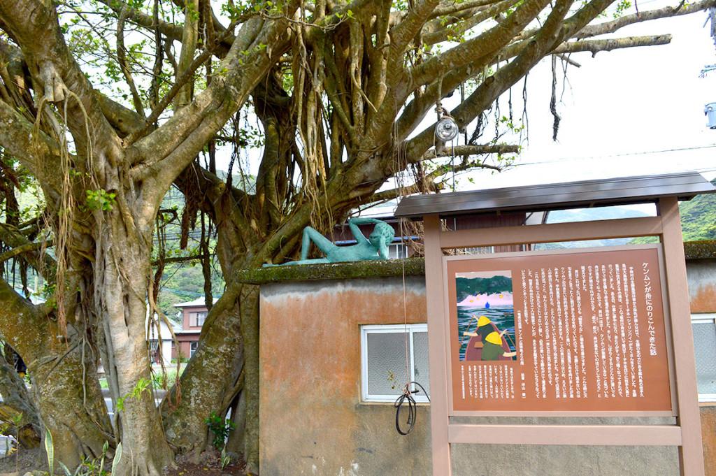宇検村田検集落にあるバス停の裏側