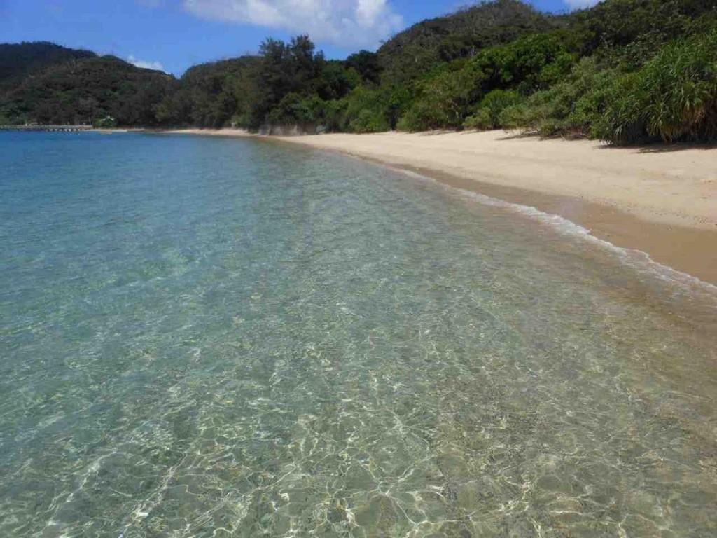 白い砂浜と透明度の高い海