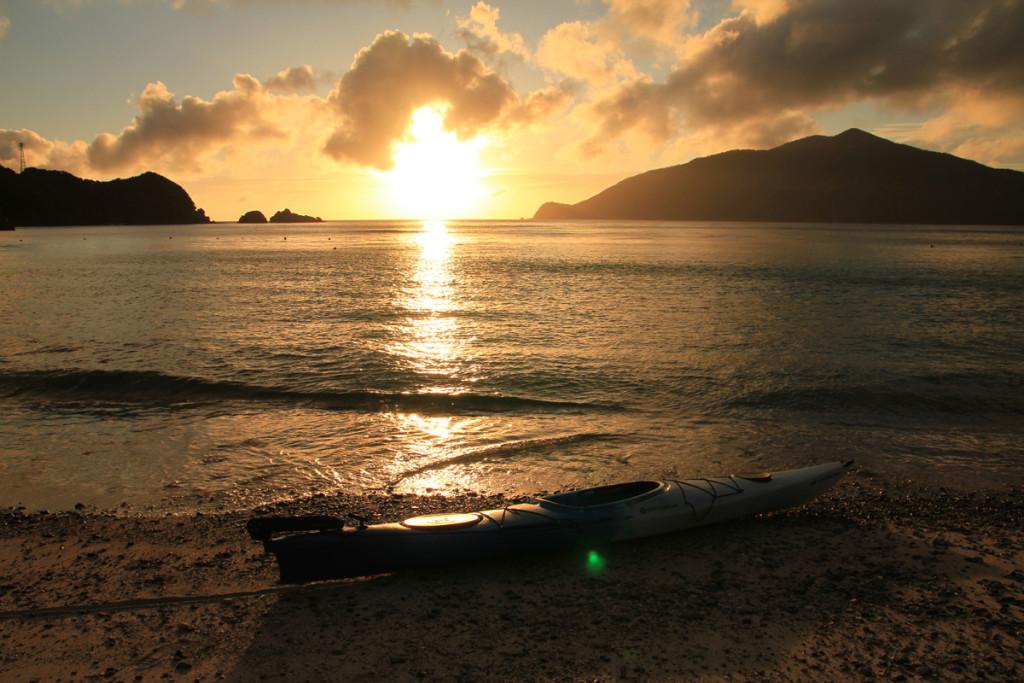 宇検村、タエン浜の夕日