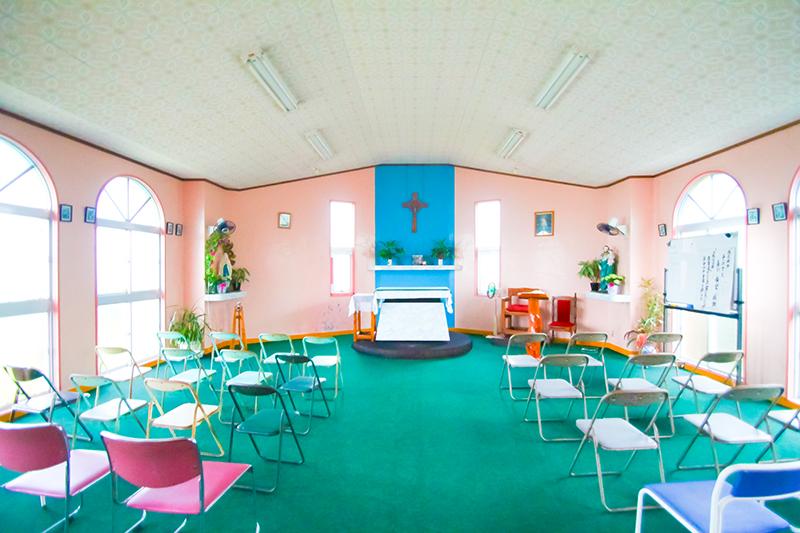 奄美、カトリック安木屋場教会の内観