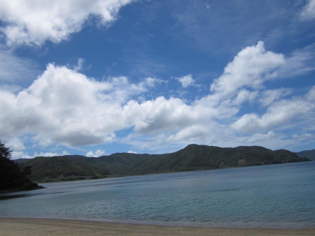 宇検村の山に囲まれた海岸