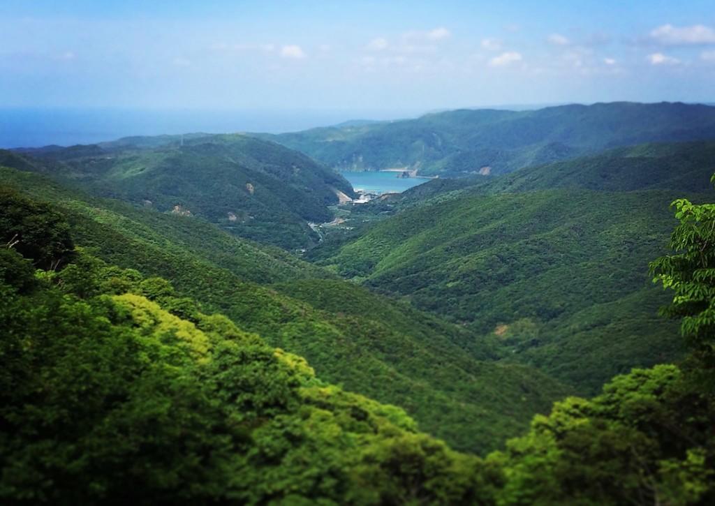 マテリヤの滝に向かう途中に見られる、思勝湾を望む絶景