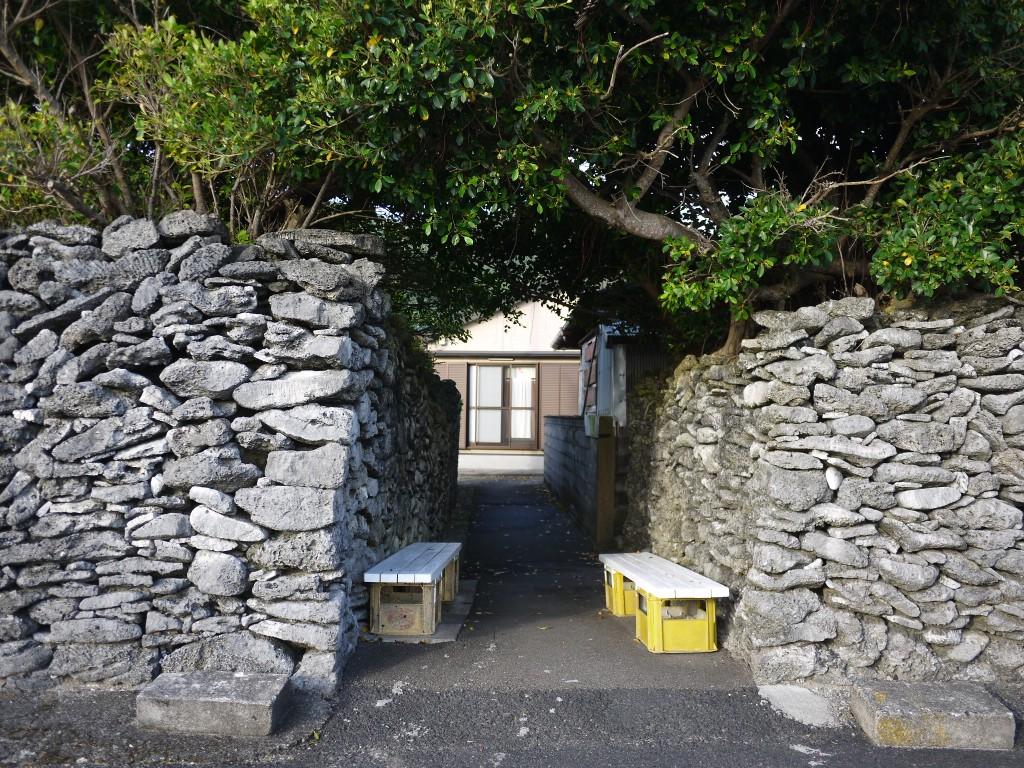 奄美西古見:サンゴの石垣の小道