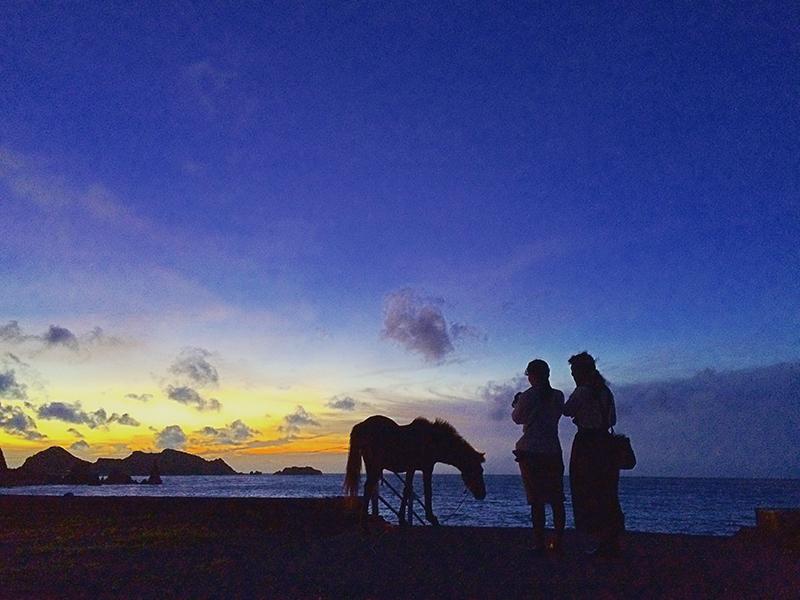 奄美大和村サンセットバスツアー海辺の青の風景