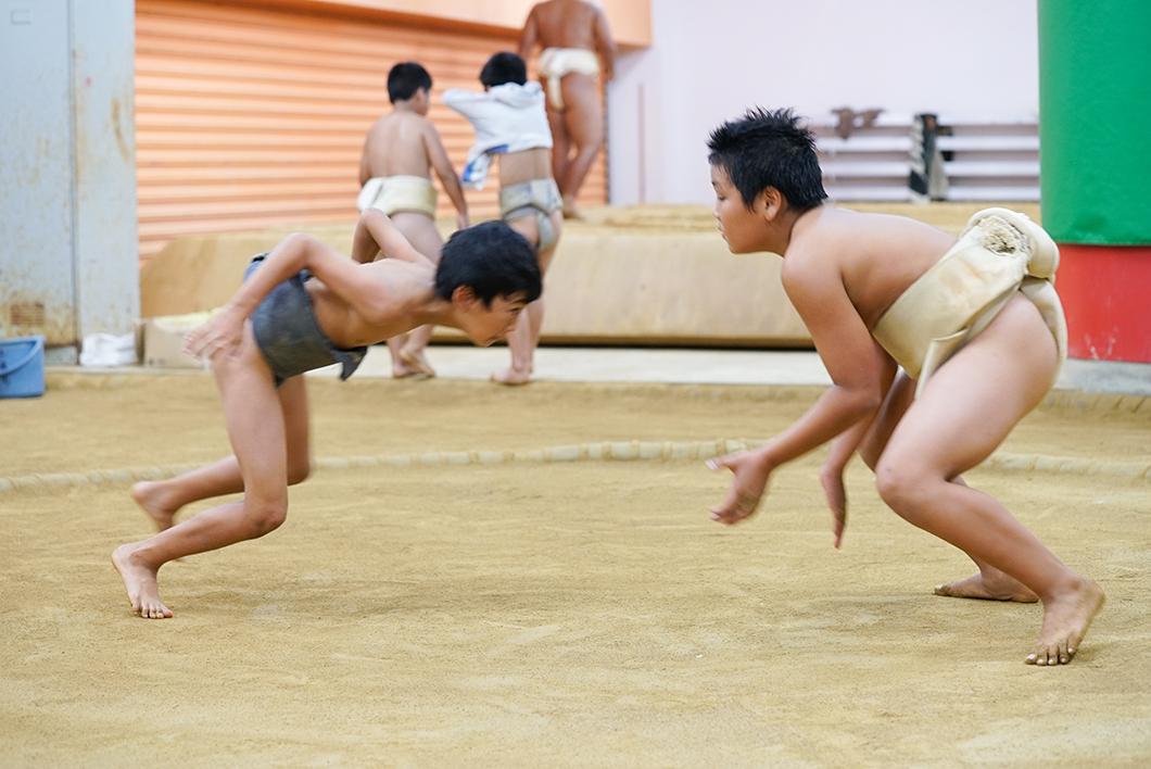 住用相撲クラブ:子供たちの取組風景