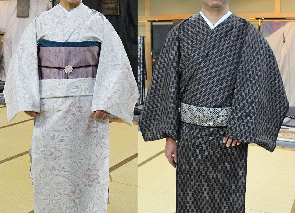 大島紬着装体験をした女性と男性