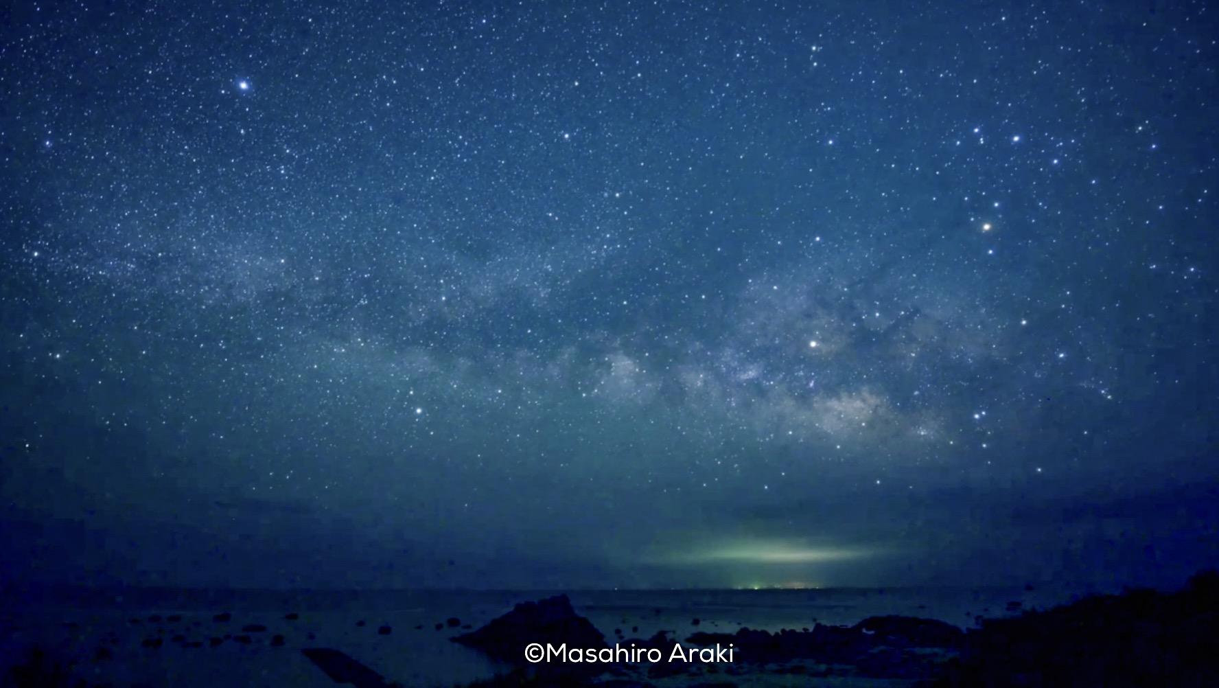 あやまる岬観光公園タイドプール前からの星空の写真001_09