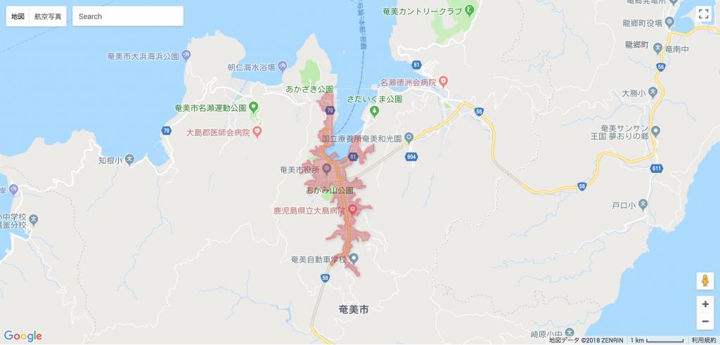奄美大島名瀬エリア俯瞰地図