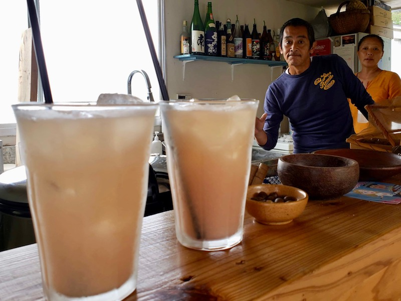 This is the guava juice at Café Bee Lunch that is on Sea Turtle Park ('Umigame Kouen') in Kuninao village.