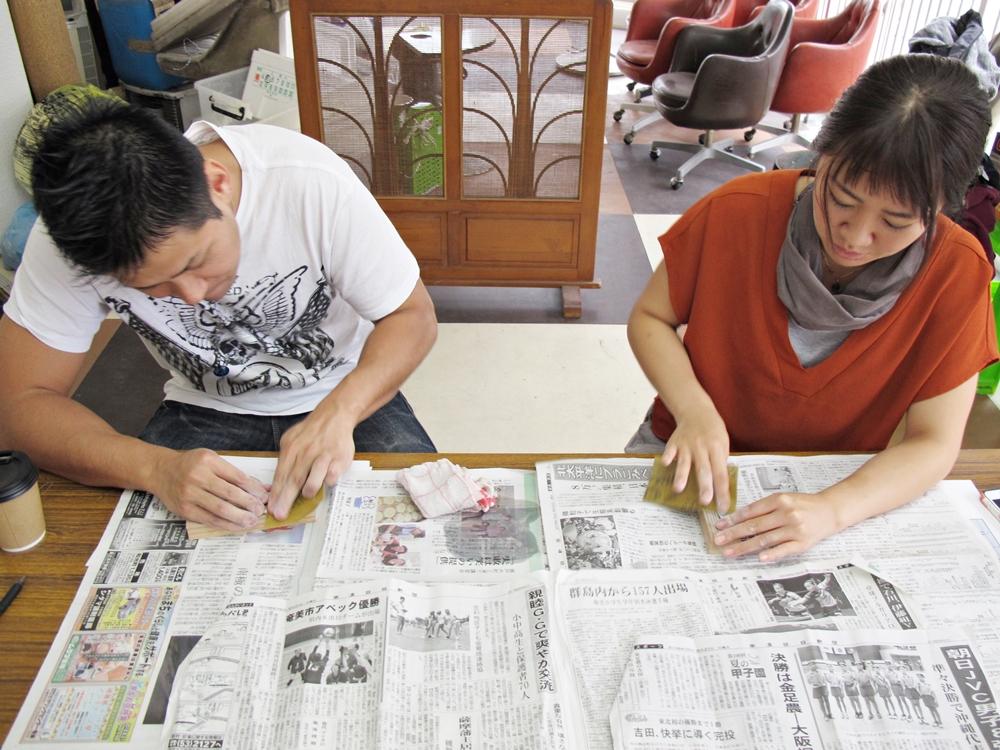 奄美の夜光貝アクセサリー作りワークショップ6