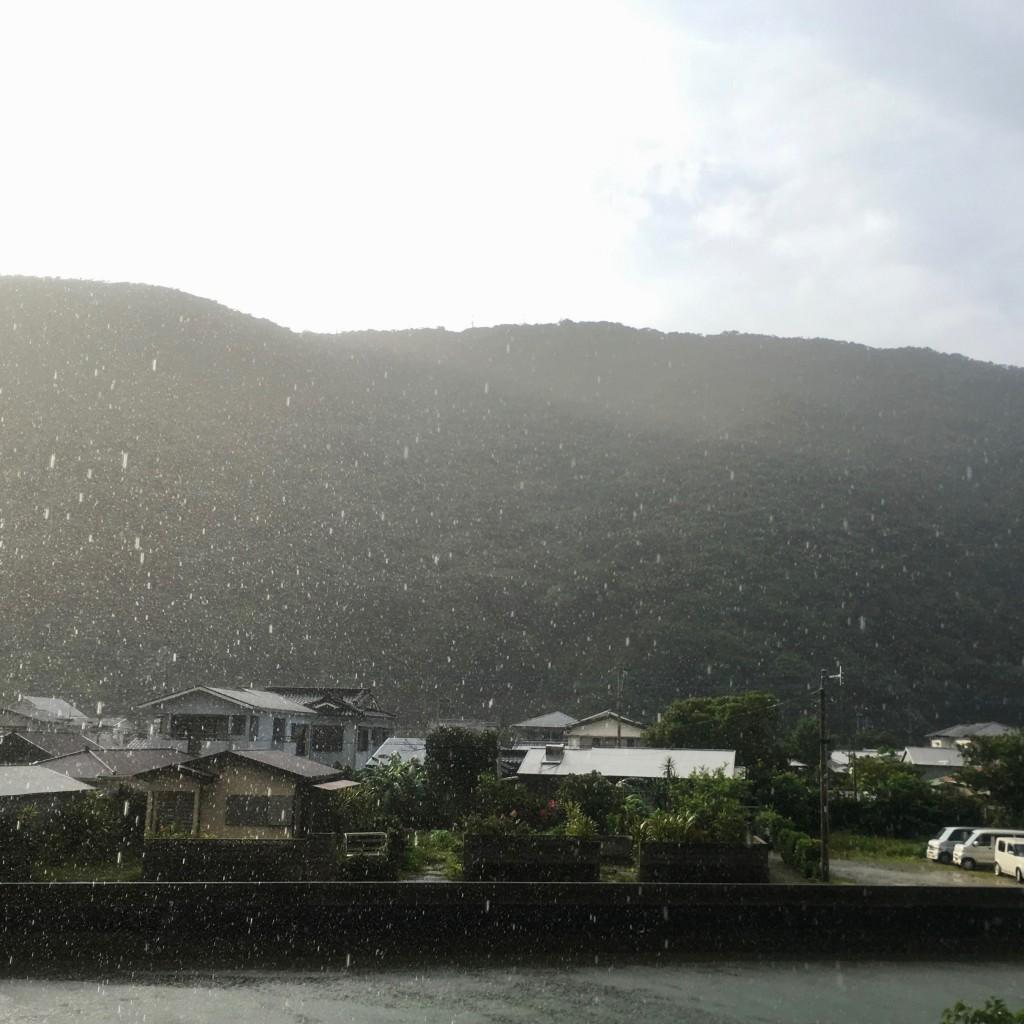奄美大島で雨が降る様子