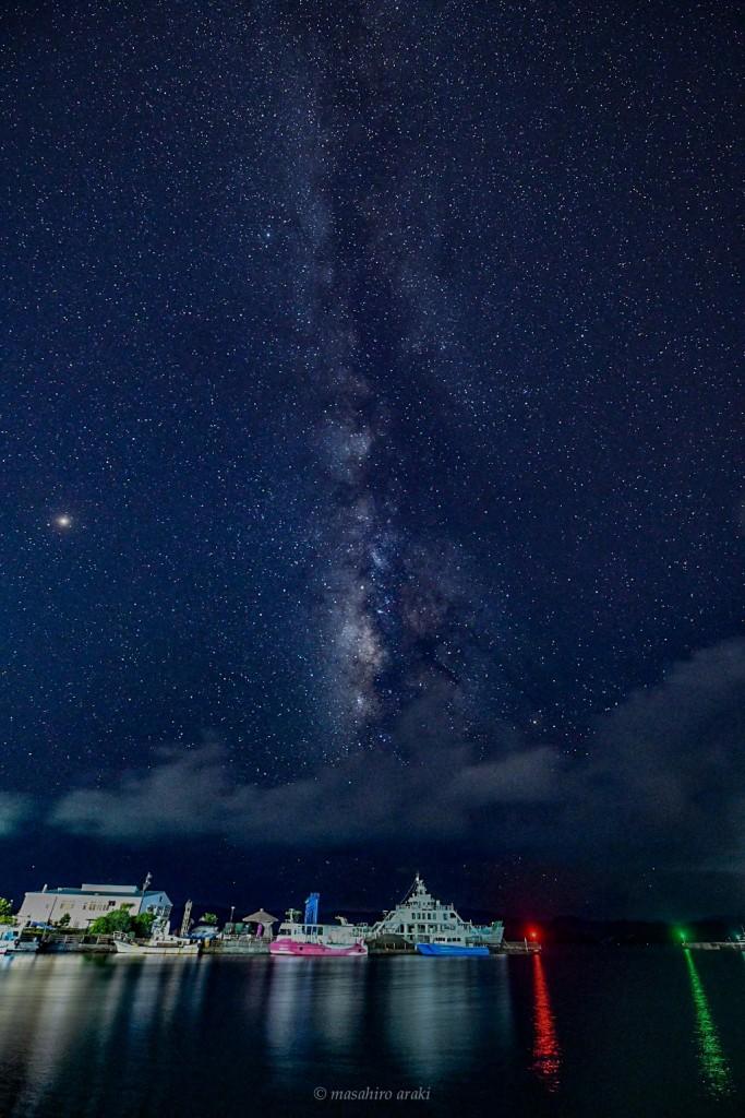 奄美瀬戸内町古仁屋港で見られる天の川