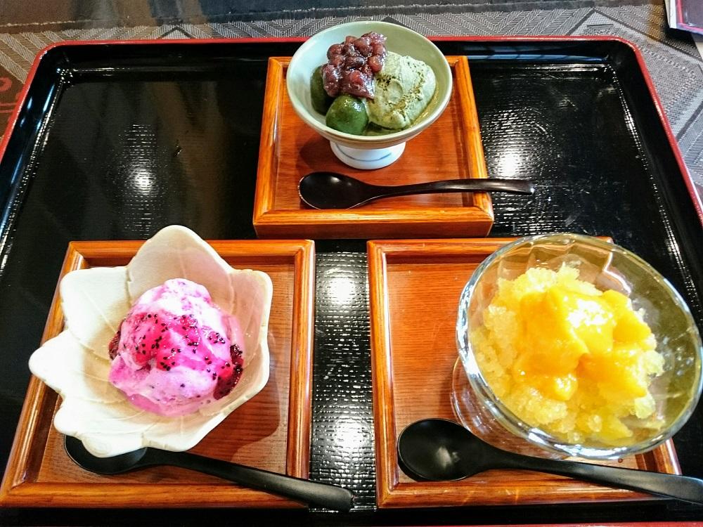 つむぎ庵の新メニュー「シマ桑抹茶アイス」と「ドラゴンフルーツのフローズンヨーグルトアイス」と「パッションフルーツとマンゴーのシャーベット」