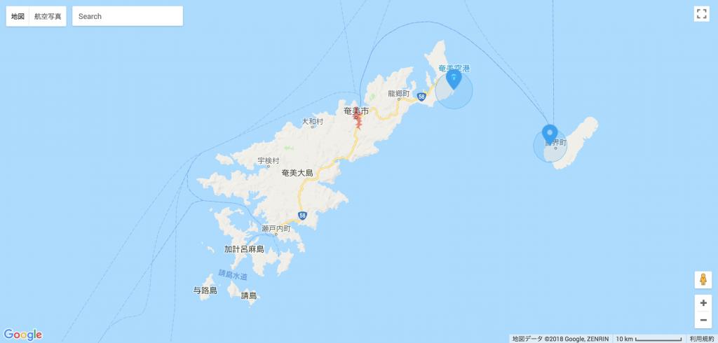 奄美大島俯瞰地図