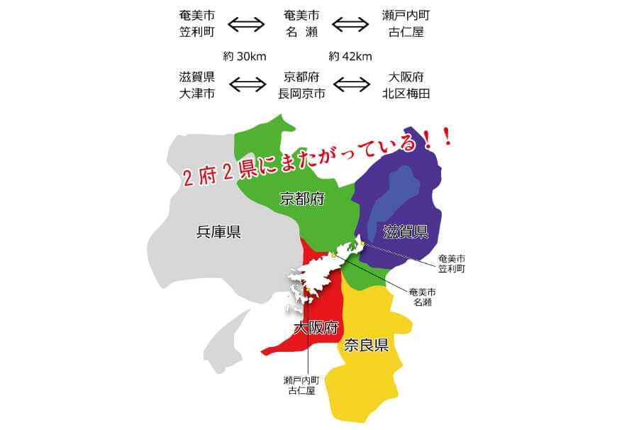奄美大島の大きさを関西と比較