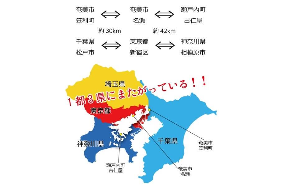 奄美大島の大きさを関東と比較