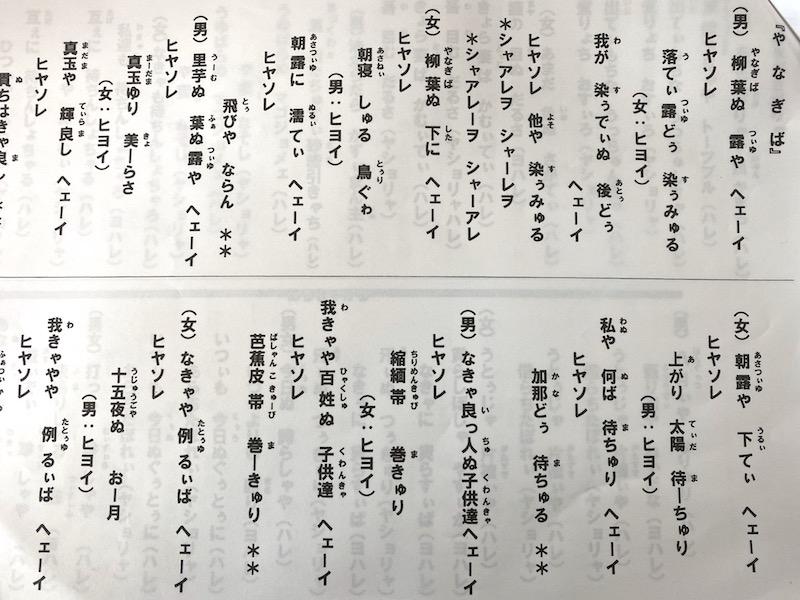 名音八月踊りの歌詞集